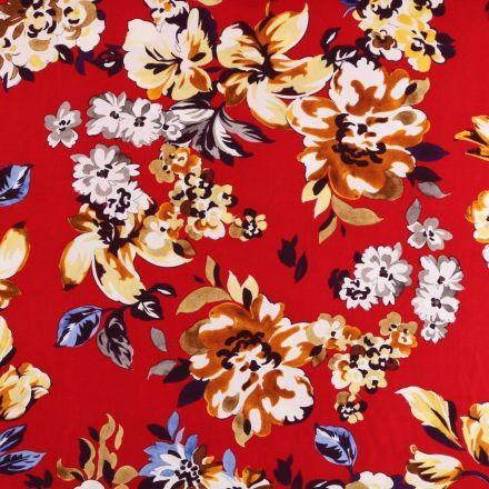 Tissu Viscose Imprimé Grandes fleurs multicolores sur fond Rouge - Par 10 cm