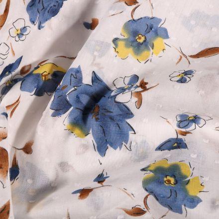 Tissu Plumetis Coton Fleurs bleues et jaunes sur fond Blanc - Par 10 cm
