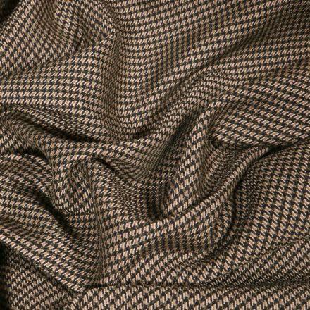 Tissu Gabardine extensible Mini Pied de poule sur fond Beige - Par 10 cm