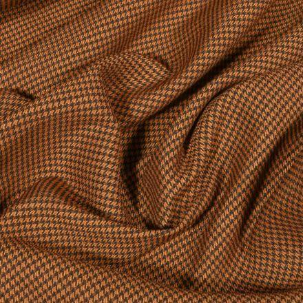 Tissu Gabardine extensible Mini Pied de poule sur fond Ocre - Par 10 cm