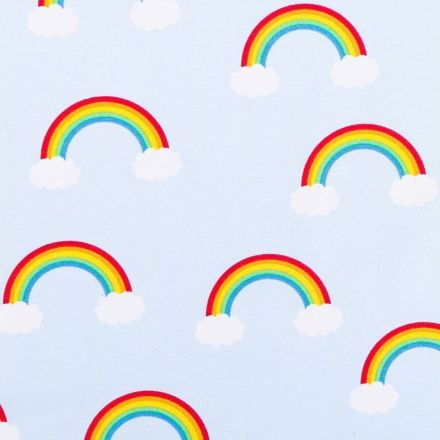 Tissu Toile Coton Arcs-en-ciel multicolores sur fond Bleu ciel - Par 10 cm