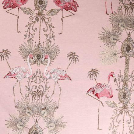 Tissu Jacquard Double face Premium Flamant rose et arabesque doré sur fond Rose - Par 10 cm