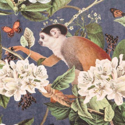 Tissu Velours ras épais tout doux Singes, oiseaux et papillons blancs, marrons et verts sur fond Bleu nuit - Par 10 cm