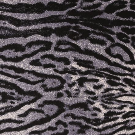 Tissu Satin Imprimé Tigre Bleu - Par 10 cm