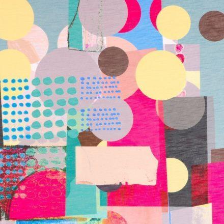 Tissu Maille dévorée Motifs abstraits sur fond Multicolore - Par 10 cm