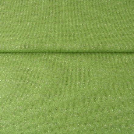 Tissu Bord côte Pailleté Argent sur fond Vert pomme - Par 10 cm