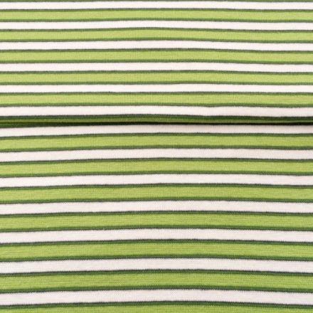 Tissu Bord côte Rayures Vert pomme sur fond Blanc - Par 10 cm