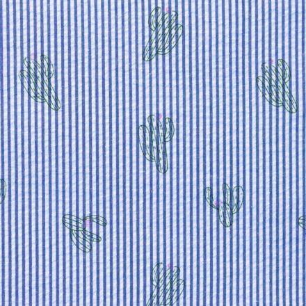 Tissu Seersucker à rayures Bleu Cactus Vert et Fuschia sur fond Blanc - Par 10 cm