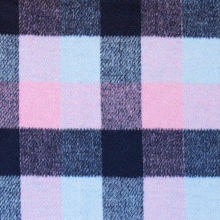 Tissu Lainage mélange Laine polyviscose Carreaux Noir, rose et gris clair - Par 10 cm