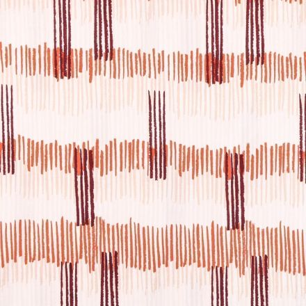 Tissu Coton Imprimé Frou-Frou Tokyo orange, bordeaux et beige sur fond Blanc - Par 10 cm