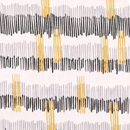 Tissu Coton Imprimé Frou-Frou Tokyo noir, gris, beige et moutarde sur fond Blanc - Par 10 cm