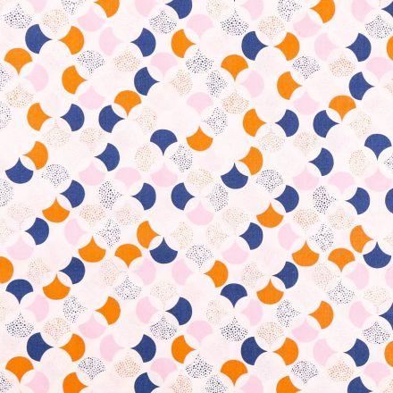 Tissu Coton Imprimé Frou-Frou Lisbonne bleu marine, mauve et orange sur fond Blanc - Par 10 cm