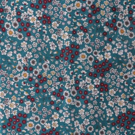 Tissu Coton Frou-Frou Fleuri N°24 Vert canard - Par 10 cm