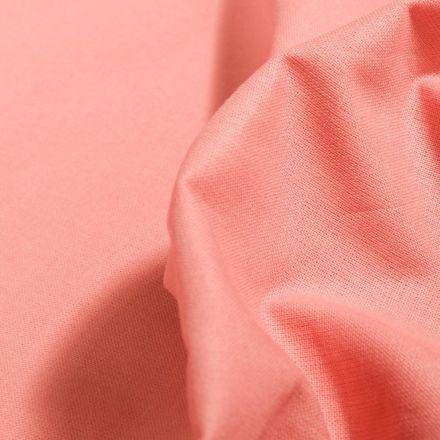 Tissu Popeline de coton unie Bio Saumon - Par 10 cm