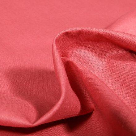 Tissu Popeline de coton unie Bio Vieux rose - Par 10 cm
