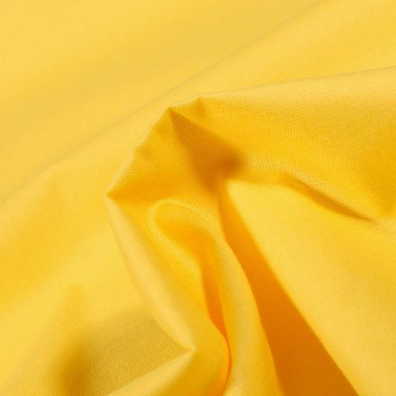 Tissu Popeline de coton unie Bio Jaune vif - Par 10 cm