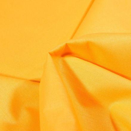 Tissu Popeline de coton unie Bio Jaune - Par 10 cm