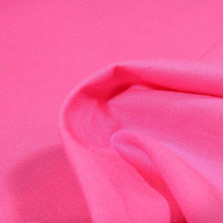 Tissu Popeline de coton unie Bio Rose bonbon - Par 10 cm