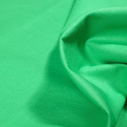 Tissu Popeline de coton unie Bio Vert - Par 10 cm