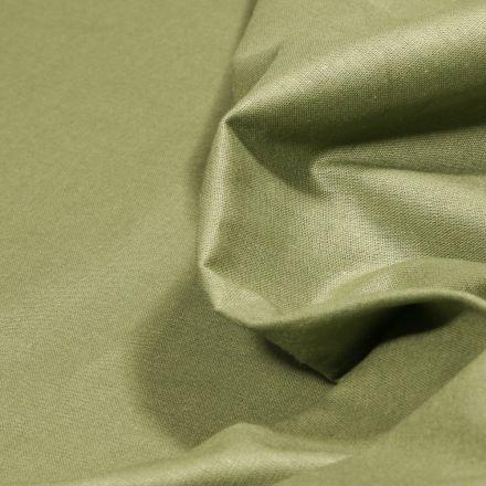 Tissu Popeline de coton unie Bio Vert kaki clair - Par 10 cm