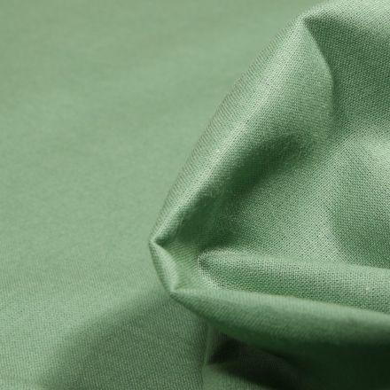 Tissu Popeline de coton unie Bio Vert amande - Par 10 cm
