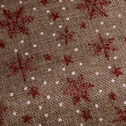 Tissu Toile de jute  Flocons rouges pailletés sur fond Naturel - Par 10 cm