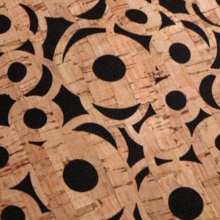 Tissu Liège monté sur jeans Cercles sur fond Noir - Par 10 cm