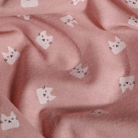 Tissu Flanelle de coton Chats sur fond Rose - Par 10 cm