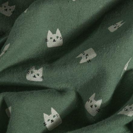 Tissu Flanelle de coton Chats sur fond Vert - Par 10 cm