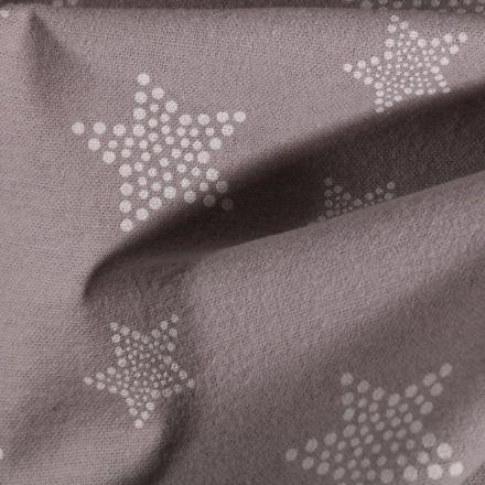 Tissu Flanelle de coton Etoile pois sur fond Gris - Par 10 cm