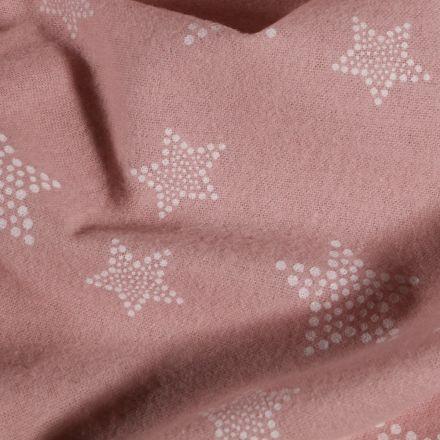 Tissu Flanelle de coton Etoiles pois sur fond Rose - Par 10 cm