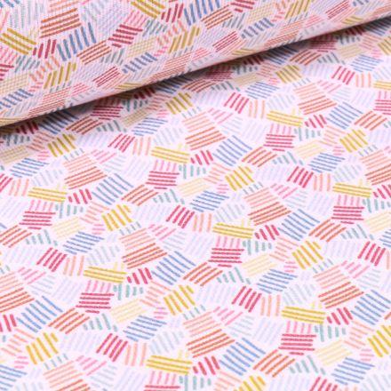 Tissu Piqué de coton Rayures colorés sur fond Blanc