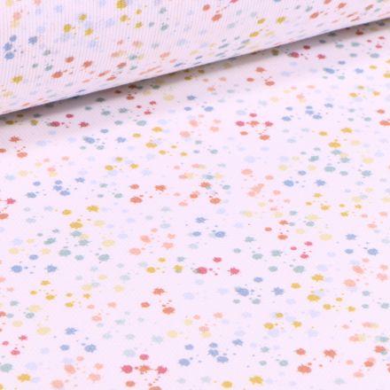 Tissu Piqué de coton Tâches de peintures sur fond Blanc