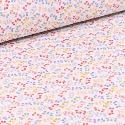 Tissu Piqué de coton Confettis fleuris sur fond Blanc