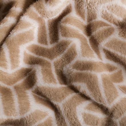 Tissu Doudou polaire Motifs abstrait sur fond Beige - Par 10 cm
