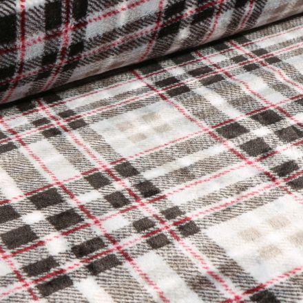 Tissu Doudou Ecossais noir et rouge sur fond Blanc