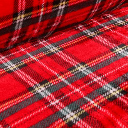 Tissu Doudou Ecossais classic sur fond Rouge