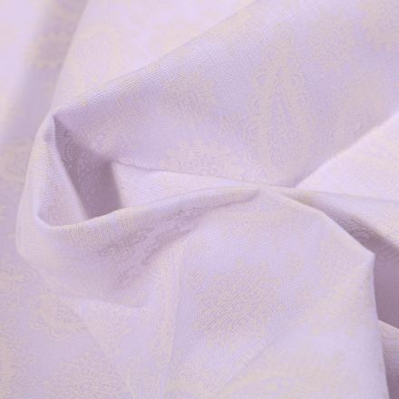 Tissu Coton MC Fabrics Motifs Cachemire sur fond Blanc