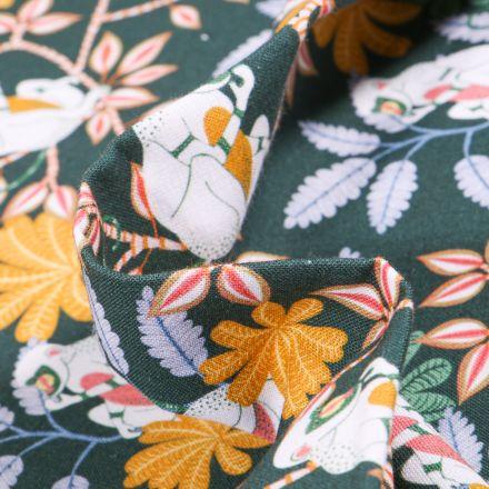 Tissu Coton MC Fabrics Singes et feuilles tropical sur fond Vert foncé