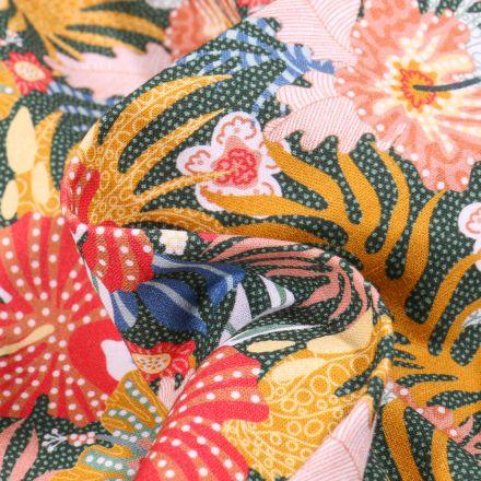 Tissu Coton MC Fabrics Grandes feuilles et fleurs tropical sur fond Vert foncé