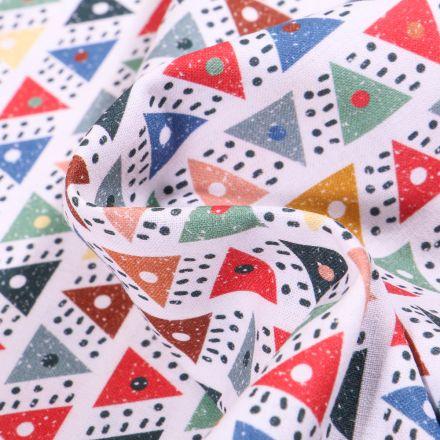 Tissu Coton MC Fabrics Triangles et pois multicolores sur fond Blanc