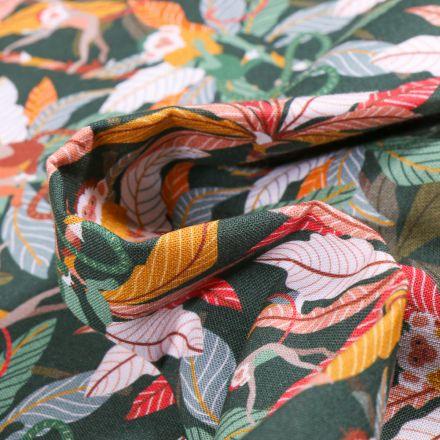 Tissu Coton MC Fabrics Feuilles multicolores sur fond Vert foncé