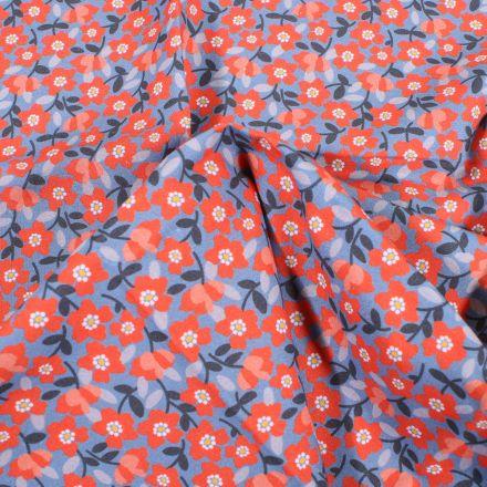 Tissu Coton Craftine Box Flowers paradise Bio Bleu