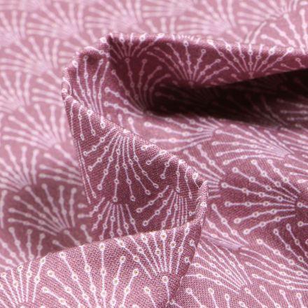 Tissu Coton imprimé Bio Eventails sur fond Vieux rose