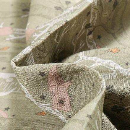 Tissu Coton imprimé Bio Ourses et arbres sur fond Vert kaki clair