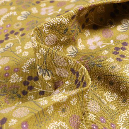 Tissu Coton imprimé Bio Pissenlits et fleurs sur fond Vert anis