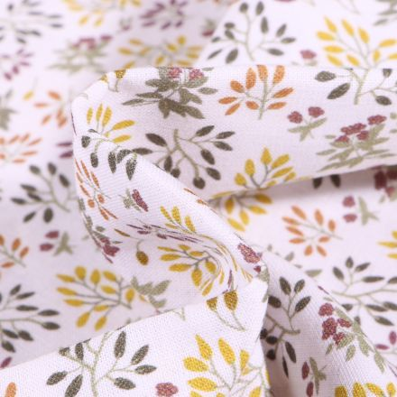 Tissu Coton imprimé Bio Feuillages colorés sur fond Blanc