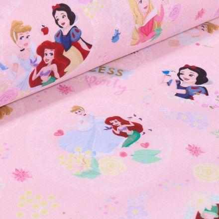 Tissu Coton imprimé sous licence Bio Princesses Disney sur fond Rose - Par 10 cm