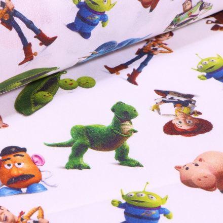 Tissu Coton imprimé sous licence Bio Toy Story sur fond Blanc - Par 10 cm