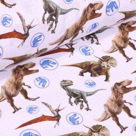 Tissu Coton imprimé sous licence Bio Jurassic Park sur fond Blanc - Par 10 cm